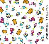 doodles cute seamless pattern.... | Shutterstock .eps vector #554187973