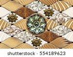 colorful vintage ceramic tiles...   Shutterstock . vector #554189623