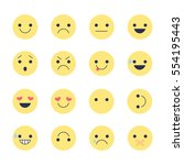 set smiley icons for... | Shutterstock .eps vector #554195443