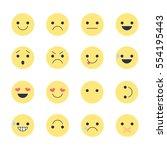 set smiley icons for... | Shutterstock .eps vector #554195443