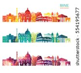 rome detailed skyline. travel... | Shutterstock .eps vector #554195677