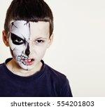 little cute boy with facepaint...   Shutterstock . vector #554201803