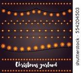 christmas garlands set. | Shutterstock . vector #554204503