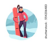 woman with snowboard... | Shutterstock . vector #554206483