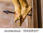 nailed feet of jesus christ on...   Shutterstock . vector #554209297