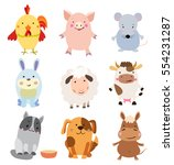 vector set of cute farm animals ...