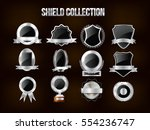 collection of silver shield ... | Shutterstock .eps vector #554236747
