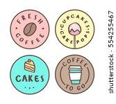 set of food badges. coffee ... | Shutterstock .eps vector #554255467