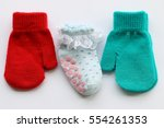 sock and glove of the baby red... | Shutterstock . vector #554261353