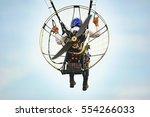 Small photo of Bila Tserkva, Ukraine. June 20, 2016 Paragliding, training flights with paramotor. Flight and altitude control