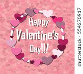 happy valentines day . pink... | Shutterstock .eps vector #554270917