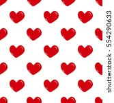 seamless red hearts pattern on... | Shutterstock .eps vector #554290633