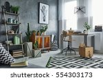 functional flat in grey with... | Shutterstock . vector #554303173