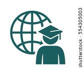 world graduating cap student... | Shutterstock .eps vector #554305003