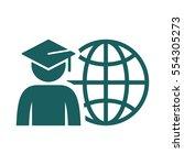 world graduating cap student... | Shutterstock .eps vector #554305273