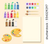 school art supplies set vector... | Shutterstock .eps vector #554329297