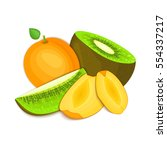 composition of juicy apricot... | Shutterstock .eps vector #554337217