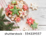 gingerbread cookies on white... | Shutterstock . vector #554339557
