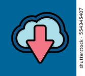 cloud download icon flat design