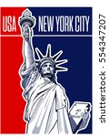 statue of liberty  nyc  usa... | Shutterstock .eps vector #554347207
