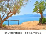 pine trees on the shore of the... | Shutterstock . vector #554374933