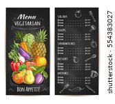 vegetarian menu of vegetables... | Shutterstock .eps vector #554383027