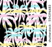 tropical summer print with palm ... | Shutterstock .eps vector #554396683