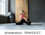 young slim blond woman in yoga... | Shutterstock . vector #554413117