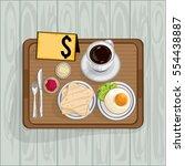 foods objects breakfast egg...   Shutterstock .eps vector #554438887