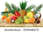 composition of tropical fruits  ... | Shutterstock .eps vector #554448373
