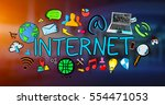 hand drawn internet... | Shutterstock . vector #554471053