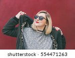 fashionable young blogger...   Shutterstock . vector #554471263