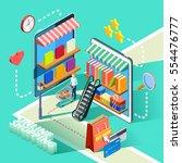 online shopping for shoes... | Shutterstock .eps vector #554476777
