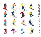 isometric people doing skiing... | Shutterstock .eps vector #554476843