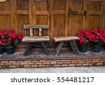 Wooden Bench With Christmas...