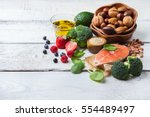 Small photo of Selection of healthy food for heart, life concept