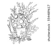 small fly agaric hidden in... | Shutterstock .eps vector #554489617