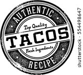 authentic tacos vintage sign | Shutterstock .eps vector #554498647