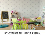 mock up wall in child room... | Shutterstock . vector #554514883