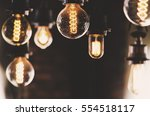 vintage lighting bulbs decor in ... | Shutterstock . vector #554518117