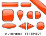 set of orange glass buttons... | Shutterstock .eps vector #554554807