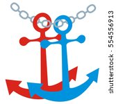 two anchor and chain  vector... | Shutterstock .eps vector #554556913