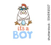 it s a boy  card template with... | Shutterstock .eps vector #554593537
