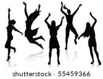 happy active women silhouettes | Shutterstock .eps vector #55459366