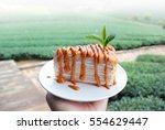 thai milk tea crepe cake in... | Shutterstock . vector #554629447