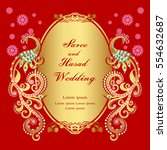 vintage invitation and wedding... | Shutterstock .eps vector #554632687