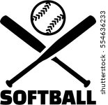 softball with crossed bats and... | Shutterstock .eps vector #554636233