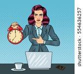 pop art business woman holding... | Shutterstock .eps vector #554636257