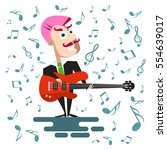 singer in suit with bass guitar.... | Shutterstock .eps vector #554639017