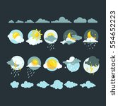 set of weather icons vector.   Shutterstock .eps vector #554652223